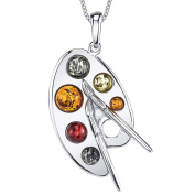 Ultimate Metals Co. ® Sterling Silver Baltic Amber Multi Colour Artist Painter's Palette Pendant Necklace Jewellery 46cm Free Rolo Chain