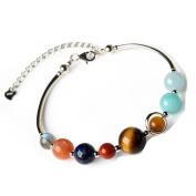 925 Sterling Silver Natural Genuine Semi-Precious Solar System Crystals Bracelet