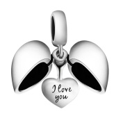 I Love You - Silver Heart Charm - Sterling Silver 925 Charm Bead