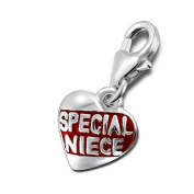 Special Niece Love Heart Sterling Silver Clip on Charm by Kate Benson - fits Thomas Sabo