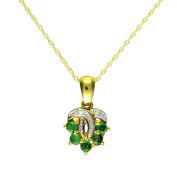 Ivy Gems 9ct Yellow Gold Emerald and Diamond Cluster Pendant with 46cm Rope Chain
