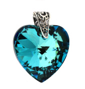 28mm Bermuda Blue Crystal Heart Pendant with Sterling Silver Filigree Bail - Pendant Only - Crystals from - Turquoise and Dark Ink Blue Mix