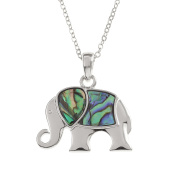 Kiara Jewellery Stylised Elephant Pendant Necklace Inlaid With Natural greenish blue Paua Abalone Shell on 46cm Trace Chain. Non Tarnish Silver Colour Rhodium plated.