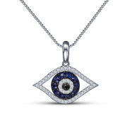 Vorra Fashion New Unique Platinum Plated 925 Sterling Silver Round Cut Blue Sapphire & CZ Evil Eye Cute Pendant For Girls