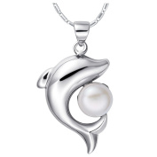 NYKKOLA Fashion Beautiful 925 Sterling Silver Dolphin Pearl Pendant Necklace for Women, Teen Girls, Young Girls