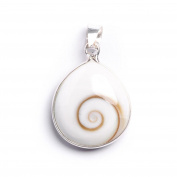 81stgeneration Women's .925 Sterling Silver Shiva Eye Shell Teardrop Pendant Necklace, 46 cm