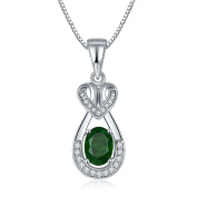 Hutang Solid 925 Sterling Silver 1.31ct Natural Gemstone Chrome Diopside & Topaz Pendant & Necklace Fine Jewellery For Women