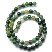 """MagiDeal 6mm Nature Green Moss Agate Gemstone Loose Spacer Beads 15"""" Round"""