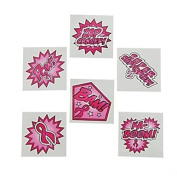 144 SUPERHERO Pink Ribbon TATTOOS - BREAST Cancer Awareness - Fundraiser GIVEAWAYS - Favours