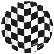 Creative Converting 24 Count Round Dinner Plates, Black and White Cheque