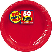 Amscan Big Party Pack 50 Count Plastic Dessert Plates, 18cm , Apple Red