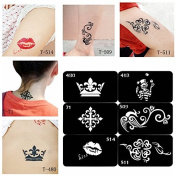 Temporary Tattoos - Glitter Tattoo Tattoos Glue Stencils Body Shimmer Glitter - Reable Temporary Air Brh Tattoo Template Stencil Painless Painting Art Supplies - Glitter Tattoo Stencils - 1PCs
