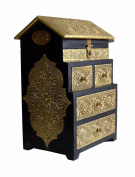 Wooden hand made Brass Ftd Hut 4 drawer box Size:- (Inche)9x6x13