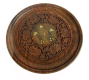 Wooden Hand Made Carved Plate Round 2pcs Size:- (Inche)10x10x1.5