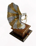 Wooden Hand Made Carved Gramophone Squire Brass Ftd / Christmas Size:- (Inche)9x6x6