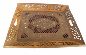 Wooden Hand Made Carved Try Size:- (Inche)15.2x13.2x2