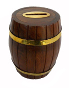 Indian Wooden Hand Made Brass Ftd Money Bank Dholki Size:- (Inche)5x5x5