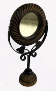 Indian Wooden Hand Made Carved Brass Ftd Mirror Stand Size:- (Inche)14x6.5x3