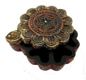 Indian Wooden Hand Made Carved Brass Ftd Tofe Big Size:- (Inche)15x6.5x5.5