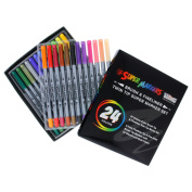 Super Markers 24 Colour Brush Tip & Fineliner Twin Tip Marker Set 0.7mm Fineliner Tip & Fine Artist Brush Tip Markers with 24 Vibrant and Bold Colours
