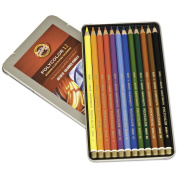Polycolor Drawing Pencils, 3.8 mm, Open Tin Blister Pack, 12 Assorted Colours/Set