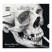 Skull Edition Black and White Drawing Tin Set by Cretacolor, Includes 25 Pieces of Drawing Materials, Featured in a Sturdy Metal Tin