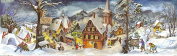 Large Panoramic Advent Calendar 24 doors 213 x 650 mm - Village in the snow - with glitter and translucent windows - RS 265 - traditional antique German Design