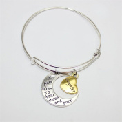 Gluckliy Love Heart Daughter Charm I Love You To The Moon and Back Engraving Pendant Bracelet Bangle