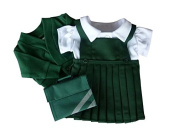 FRILLY LILY MEDIUM DOLLS SCHOOL UNIFORM 18-20 INS [45-50 CM ] GREEN PINAFORE , WHITE BLOUSE, GREEN CARDY GREEN BOOK BAG