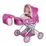 """Knorr Toys Knorr61838 """"Combi Kyra"""" Pink Stripes Dolls Pram and Buggy"""