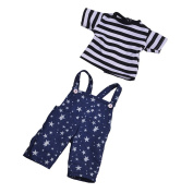 MagiDeal Blue Stary Pants Jumpsuits and Striped T-shirt for 46cm American Girl Dolls