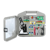 DQQ Microscope for Kids Microscopes for Students with Case and Slides 50X 100X 200X 400X 600X 1200X Magnification LED,Metal Arm and Base
