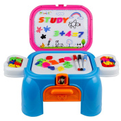 Magnetic White Board with Storage Box Chair Drawing Games Magnetic Letters, Numbers 3 in 1 Portable Chair