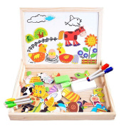 Magnetic Jigsaw Puzzles 100 Pieces Educational Wooden Toy for Kids