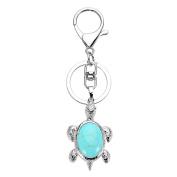 QGEM Tortoise Shape Keyring Healing Crystal Howlite Turquoise Sea Turtle Pendant Keychain Handbag Decorations