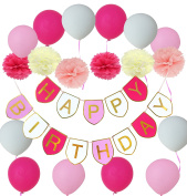 Happy Birthday Bunting Banner With Balloons and Tissue Paper Pom Poms Flower for Birthday Party Decoration