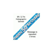 9ft Blue & Silver Stars Holographic Happy 50th Birthday Banner