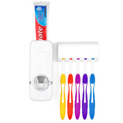 Wall Mount 5 Brushes Toothbrush Holder Sets Automatic Toothpaste Dispenser Bathroom Accessories