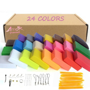 Amor 24 Colours Polymer Clay Modelling Magic Clay Safety Soft Oven Baking DIY Clay Set with Tools