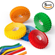 Block Tape, Filisox 5 Rolls(0.9m/Roll) Multicolor Silicone Non-Toxic Safe Tapes with Reusable Self-Adhesive Strips as Brick Base Plates for Lego Toy Building Block, Perfect for Kids of All Ages