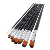 Artist Paint Brushes set 9pcs Flat Tipped Paint Brushes Set for Acrylic Watercolour Oil Painting,Long Handle.