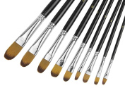 9pcs Paint Brush Set Professional Nylon Hair Paintbrush w/ Numbered Wood Holder for Watercolour Paint,Oil Paint,Acrylic Paint, Face Painting,Body Painting, Artist Paint Supplies