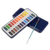 XCSOURCE Watercolour Artist set, 24 Colours Paint Blocks with Brushes, Mixing Palette Lid for Kids Adults Beginners Artists TH715