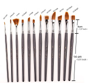 12 PCS Professional Paint Brush Set Nylon Hair Watercolour/Craft/Face Paints