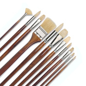 11 pcs Professional Oil & Acrylics Artist Brushes Pure Hog Bristles Long-lasting Badger & Chungking hog - Lacquered Birchwood Long Handles with a Free Carrying Box