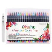 Ohuhu 20 Colours Watercolour Paint Brush Marker Pens W/ A Water Colouring Brush, Soft Flexible Tip for Adult Colouring Books, Manga, Comic, Calligraphy