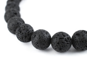 TheBeadChest 12mm Black Lava Gemstone Beads Round 8mm Crystal Energy Stone Healing Power for Jewellery Making, 15 Inch Strand