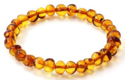 Baltic Amber Bracelet - Adult Size (Women and Men) - 20cm - Made on Elastic Band - Polished Baltic Amber Beads - BoutiqueAmber