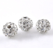 5PCS White Clear Pave Crystal Rhinestone Disco Ball Beads for DIY Jewellery Making Findings 6mm