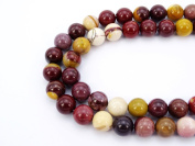jennysun2010 Natural Moukaite Gemstone 8mm Smooth Round Loose 50pcs Beads 1 Strand for Bracelet Necklace Earrings Jewellery Making Crafts Design Healing